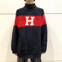 "90s ""TOMMY HILFIGER"" turtle neck cotton knit sweater"