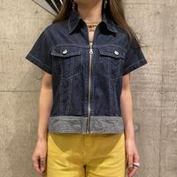 90s~ zip up denim shirt