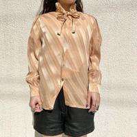 80s~ striped ribbon tie blouse