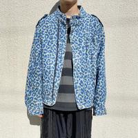 80s~ leopard patterned denim jacket