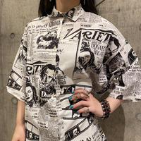 80s newspaper patterned shirt