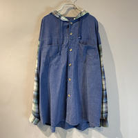 denim switching hoodie shirt