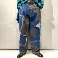 90s〜patchworked wide denim pants