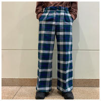 1970s poly plaid flare pants