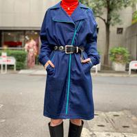 80s trench coat design denim one-piece
