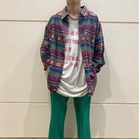 80s~ native patterned L/S shirt