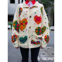 old heart pattern knit cardigan