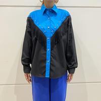 80s L/S western design shirt