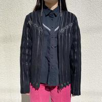 leather switching mesh cardigan