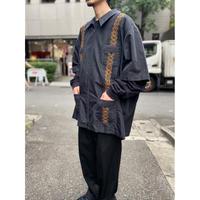 oversized zip up guayabera shirt