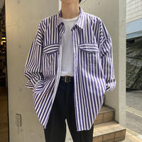 4XL! 90s~ oversized stripe L/S shirt