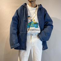 90s denim hoodie zip jacket