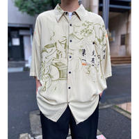 90s China motif S/S rayon shirt