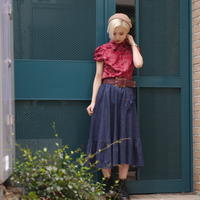 70s Frill denim skirt