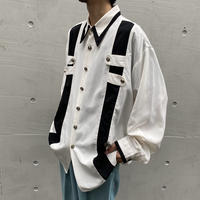 bi-color design L/S shirt