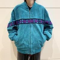80s suede leather zip up jacket