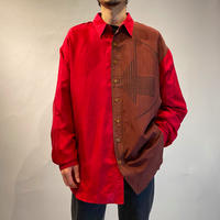 bi-color design silk shirt