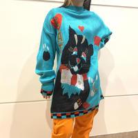 80s cat design mock neck knit sweater