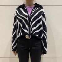 90s zebra patterned knit blouson