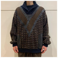 80s leather swithing knit sweater