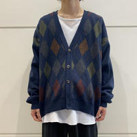 90s argyle patterned knit cardigan