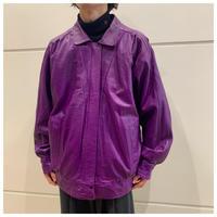80s leather zip up jacket