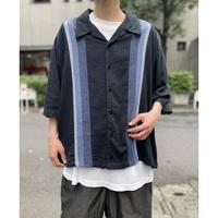 oversized s/s linen×rayon shirt