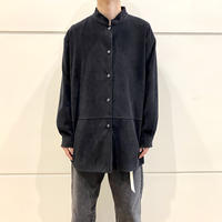 90s fake suede band collar L/S shirt (BLK)