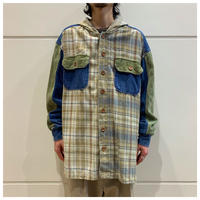 90s corduroy swithing hooded shirt