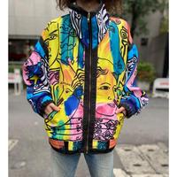 80s face pattern nylon jacket