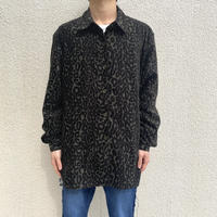 90s~ leopard design fake suede shirt