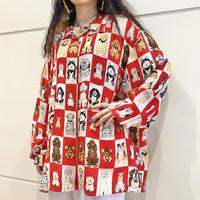 80s~ oversized dogs patterned silk shirt