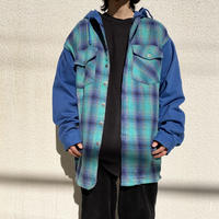 90s oversized hooded flannel check shirt