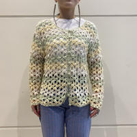 old flower design cloche knit cardigan (DEAD STOCK)