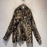 leopard pattern see-through shirt