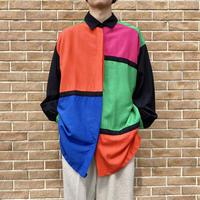 80s~ mondrian patterned L/S shirt