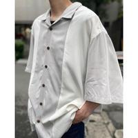 bi-color design open collar shirt