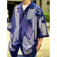 tiger design S/S mesh shirt