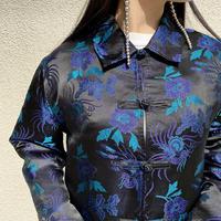 90s china design rayon×silk shirt