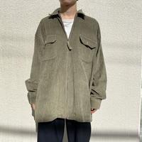 90s~ oversized zip up corduroy L/S shirt