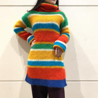 80s~ striped turtle-neck  knit sweater
