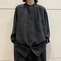 90s L/S band-collar silk shirt