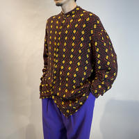 band collar all pattern rayon shirt