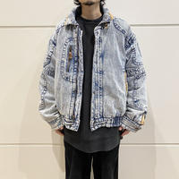 "80s〜""TODAYS NEWS"" chemical denim puffer  jacket"