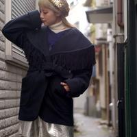 80s fringe wool coat