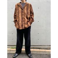 90s Python pattern open collar shirt