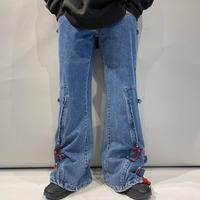 denim × mesh design flare pants