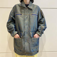 90s〜shiny zip up denim jacket