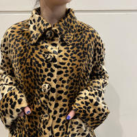 90s~ leopard pattern short length fake fur jacket