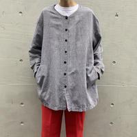 90s no-collar linen blend shirt